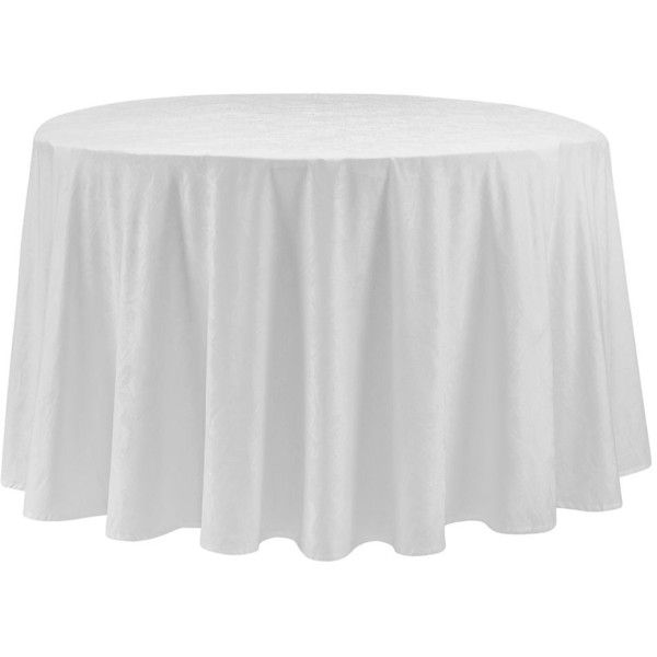 """Waterford Camille Tablecloth, 90"""" Round ($140) ❤ liked on Polyvore featuring home, kitchen & dining, table linens, white, cotton tablecloths, waterford, white cotton tablecloth, waterford table linens and waterford tablecloth"""