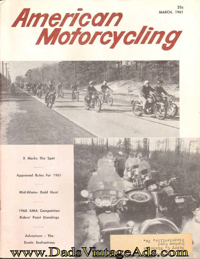 1961 March American Motorcycling Motorcycle Magazine Back-Issue