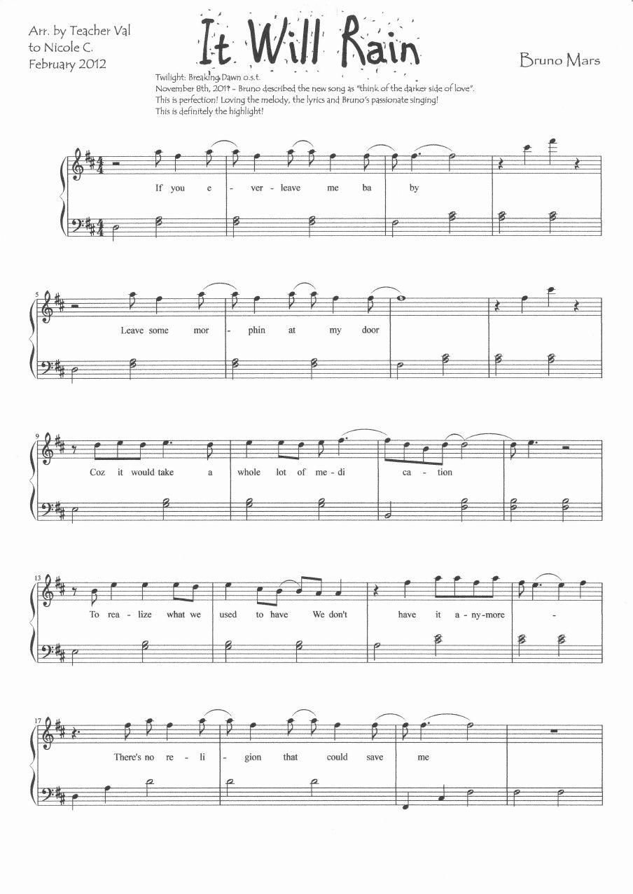 It Will Rain Bruno Mars Piano Sheet Music Score Scribd With