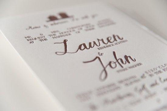 Rustic Home Letterpress Wedding Invitations