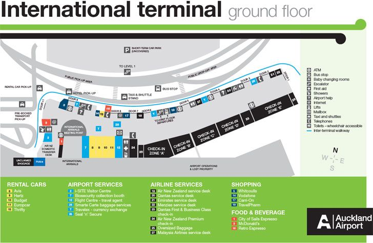 Auckland International Airport Terminal Map Airport Maps