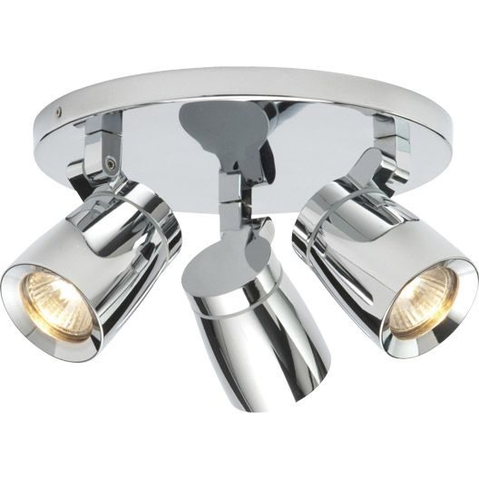 Plafonnier 3 Spots Kimber Brilliant Halogene 3 X 35 W Gu10 Chrome Luminaire Salle De Bain Spot Plafond Feux De Plafond