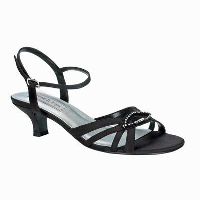Dakota Black Satin Low Heel Evening Shoes