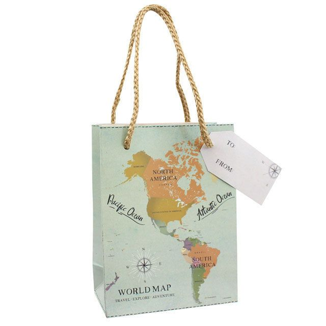 gorgeous world map travel explore adventure green blue gift bags with tag and ro