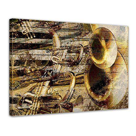 Bilderdepot24 Kunstdruck - Trompete und Piano abstrakt - Bilder - wohnzimmer bilder abstrakt