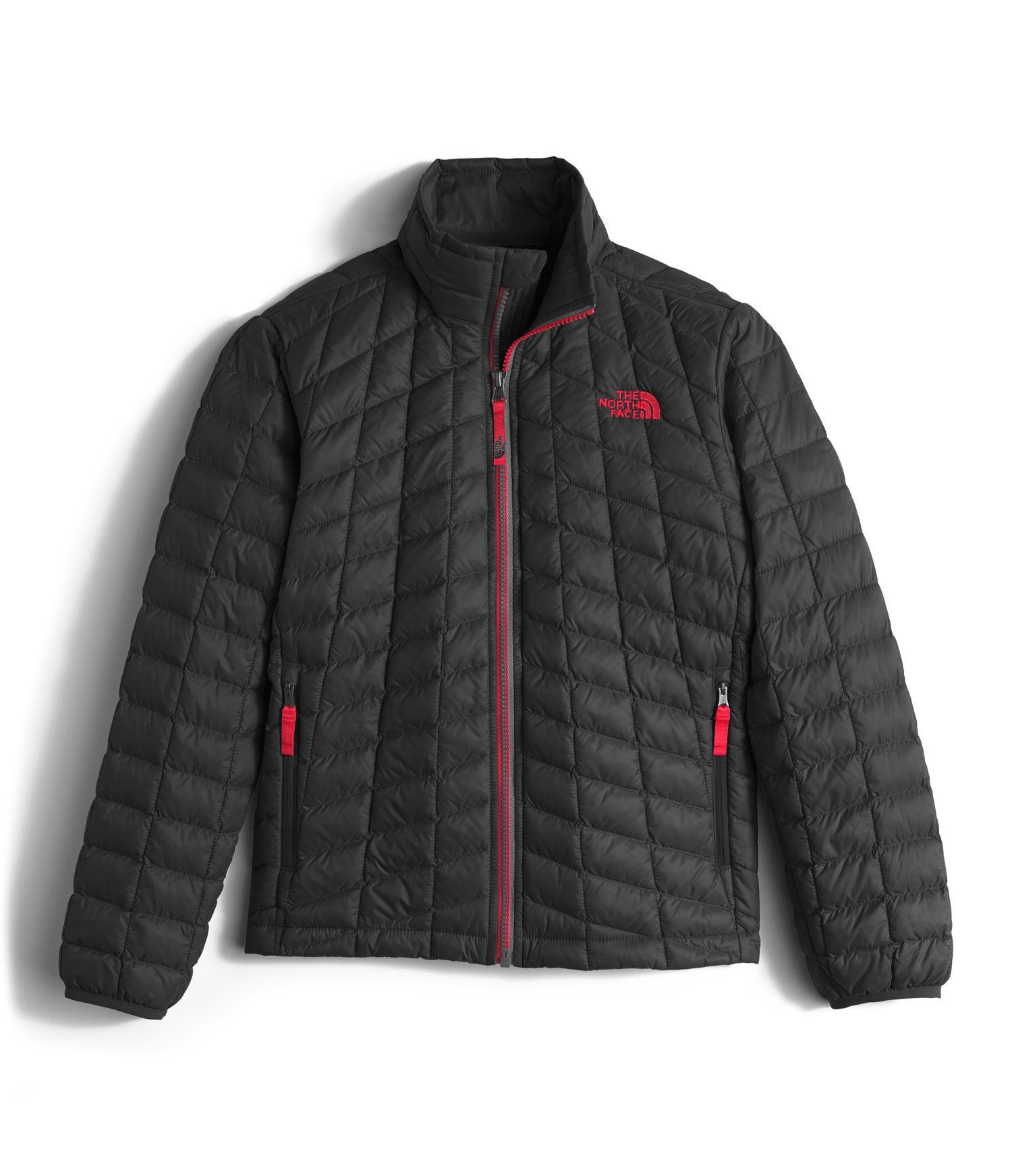 9f26e0225d The North Face Thermoball Full Zip Jacket Boys  TNF Black TNF Red Small.  Synthetic-insulated jacket remains warm in wet