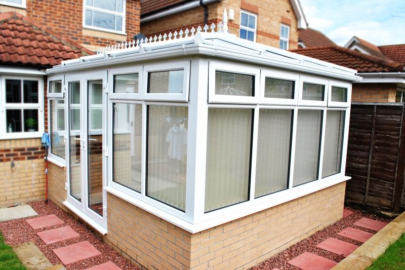 Sophisticated Rectangular Conservatory with Glass roof top opening windows French Doors and White UPVC & Sophisticated Rectangular Conservatory with Glass roof top ... pezcame.com