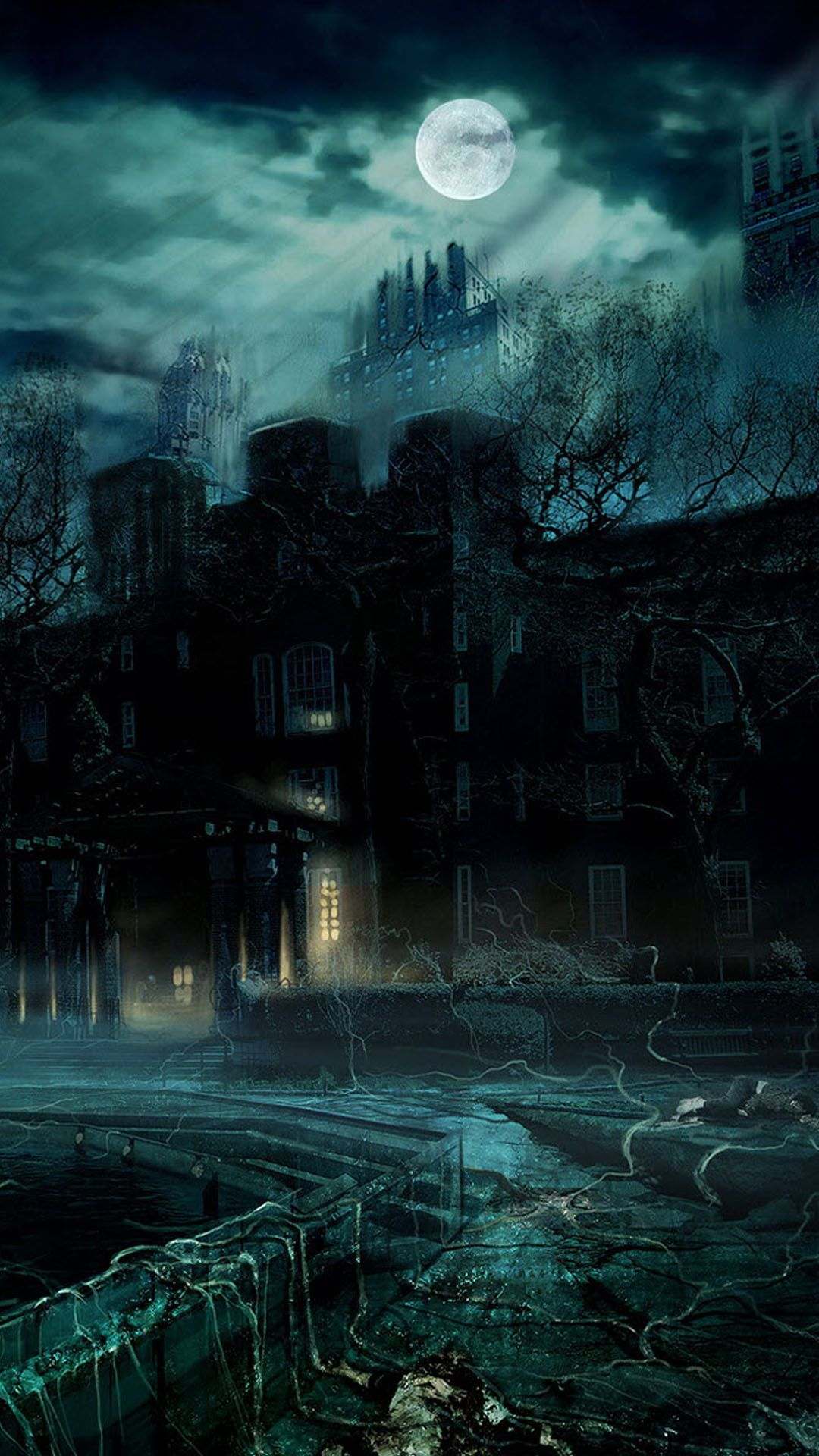 Haunted Castle Full Moon Night Android Wallpaper Gothic