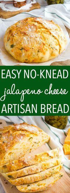 No Knead Jalapeno Cheese Artisan Bread - The Busy Baker