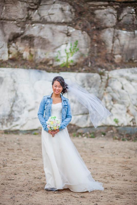 8bd50f226d27 Bride   Bridesmaids In Jean Jacket At Wedding