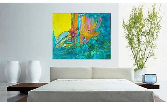 Large abstract painting, living room abstract art, master bedroom ...