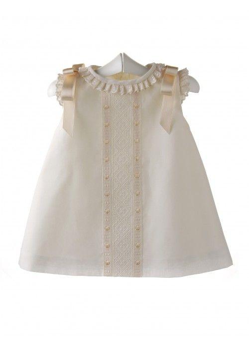 2a3e438ed Faldon para bebé con el cuerpo de punto bobo y calados y la falda de ...