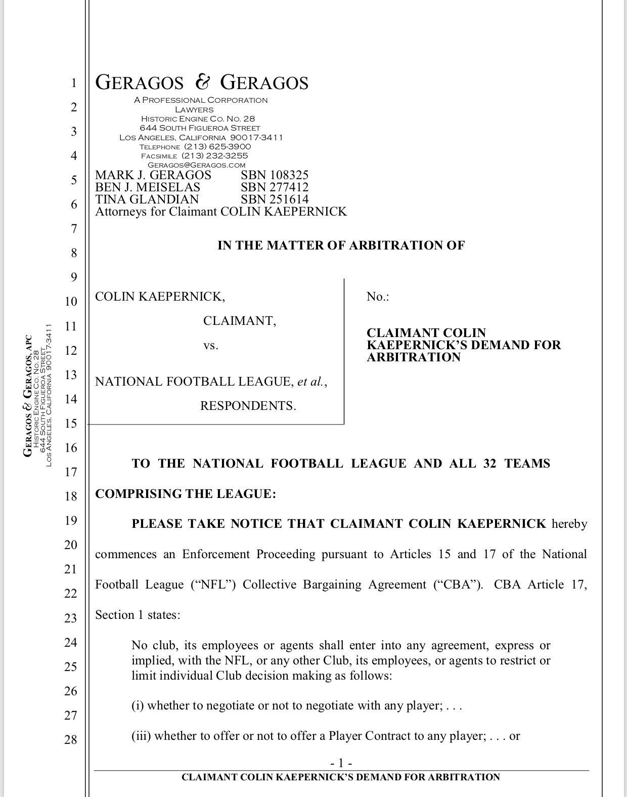 Colin Kaepernick Has Filed A Grievance Against Nfl Owners For