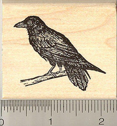 Raven Bird Portrait Rubber Stamp E14501 WM