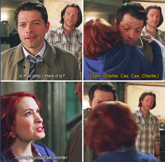 Supernatural Book of the Damned 10x18 // Charlie meeting Cas !