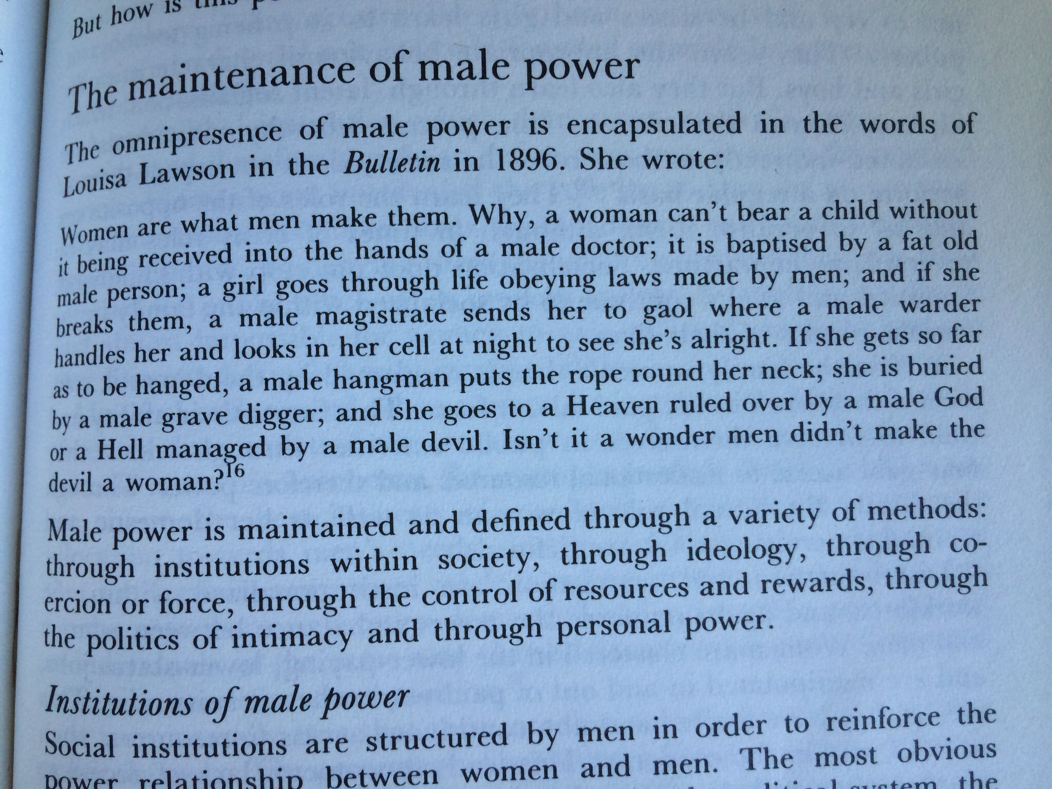 Feminist perspective: the maintenance of male power ...Dr Robyn Rowland