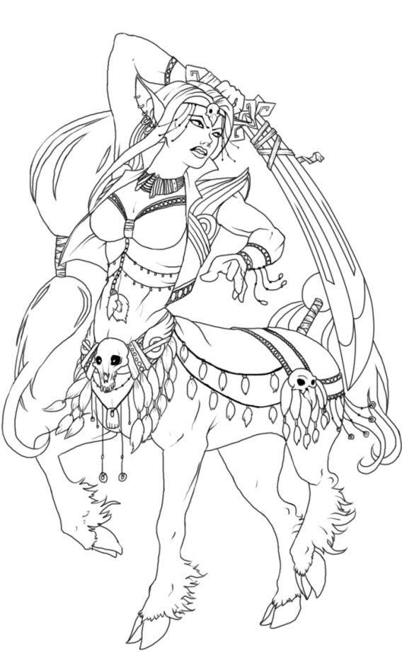 Female Centaur Warrior Printable Adult Coloring Pages Coloring Pages