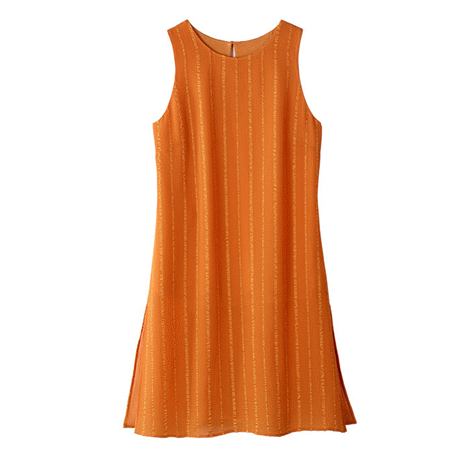 Marigold sleeveless tunic with side slits for added style. Sheer chiffon overlay, polyester. Lining, rayon/spandex. Machine wash and dry. Centre back length: 84 cm on medium; 88 cm on 1X.  Send me a message