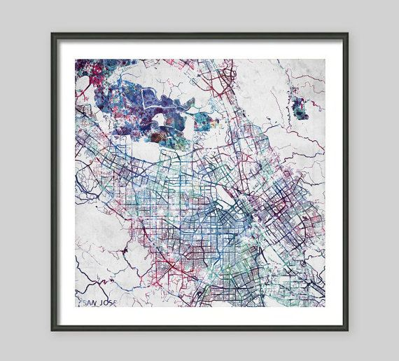 SAN JOSE Map California Watercolor painting Old paper Giclee