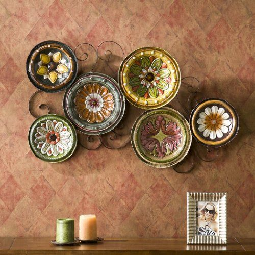 Scattered 6 Italian Plates Wall Art Kitchen Tuscan Metal Hand