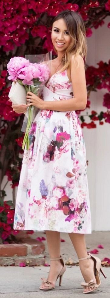 #spring #fashion #outfitideas |Fit And Flare Floral Dress |Lace & Locks