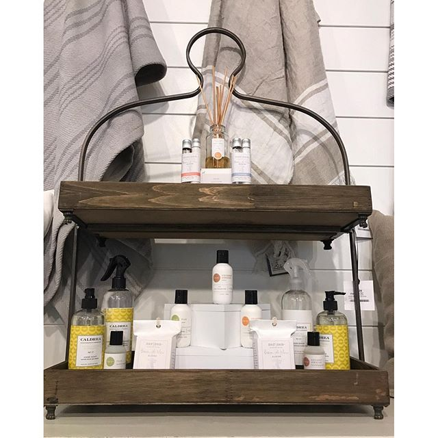 Here's another one of our fabulous tiered trays filled with some of our favorite Dani, Mer-Sea and Caldera products. Perfect for a vanity!   Layers Beautiful Bedding