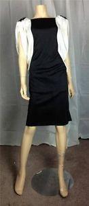 $38.97 Vintage Retro 70's white black draped sequin applique dress