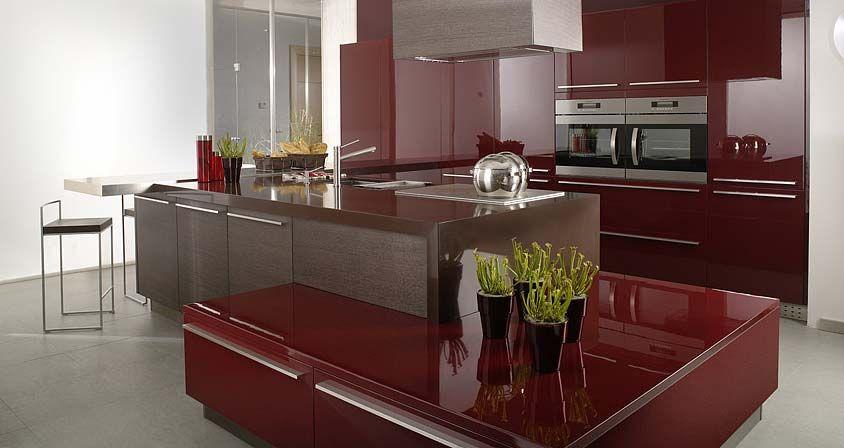 Muebles de cocina. G-645 acabado Roble Brezo / G-500 Cereza Brillo ...