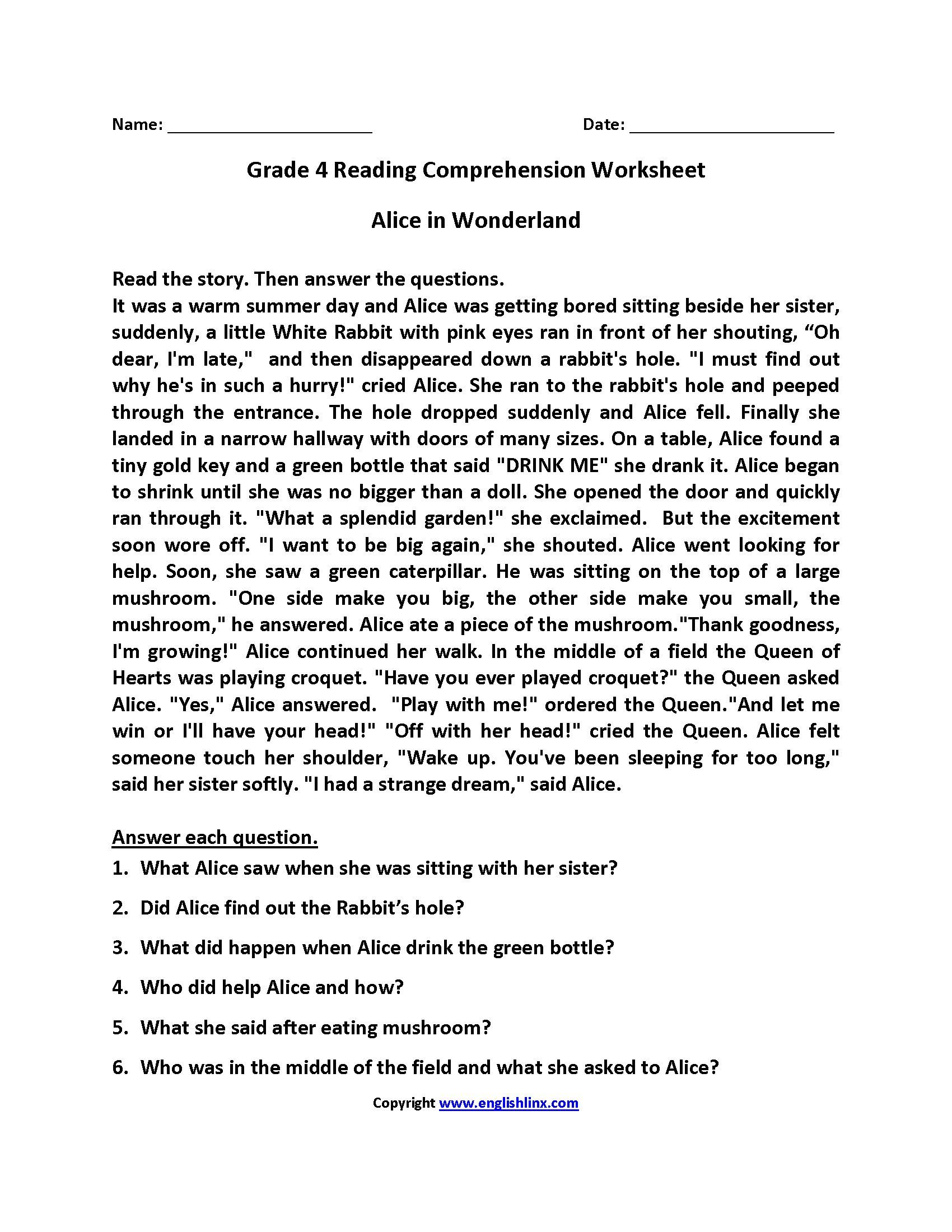 The 4th Grade Reading Comprehension Worksheets
