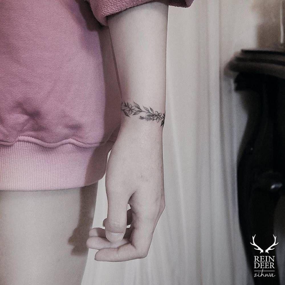 Floral Bracelet Wrist Tattoo Designs: Flower Bracelet Tattoo On The Left Wrist.