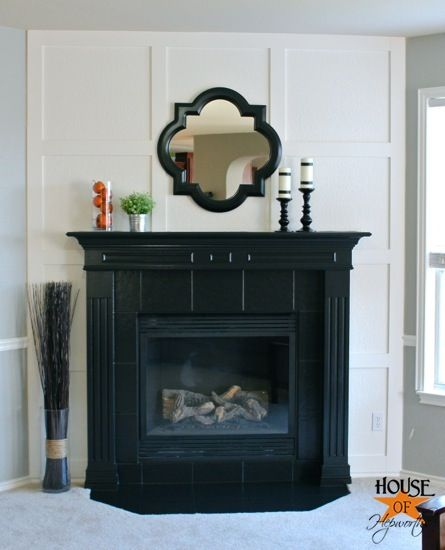 A Dramatic Fireplace Makeover White Moulding Black Mantel Fireplace Makeover White Molding Living Room With Fireplace