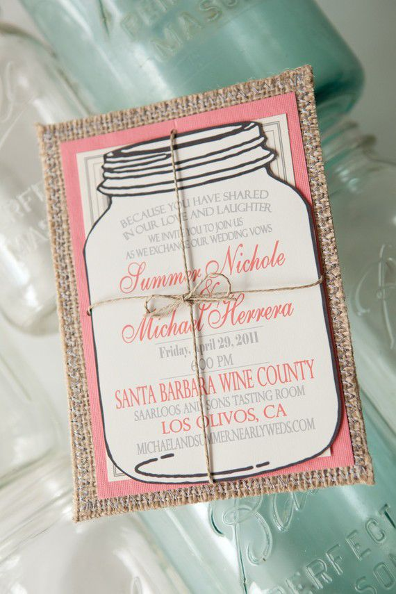 mason jar burlap wedding invitation rustic handmade