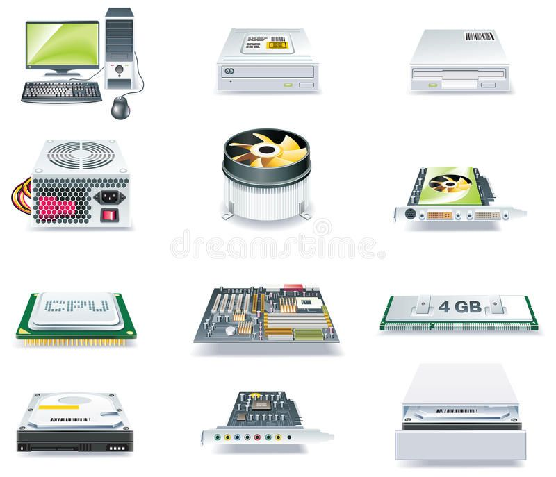 Vector Detailed Computer Parts Icon Set Part 1 Set Of Realistic Computer Compo Affiliate Parts I With Images Technology Icon Computer Icon Business Icon
