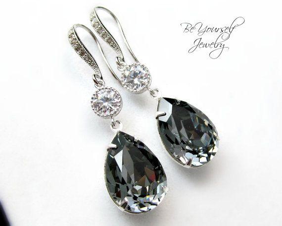 00ee4c27e1ee6 Dark Grey Bridal Earrings Charcoal Teardrop Bride Earring Swarovski ...