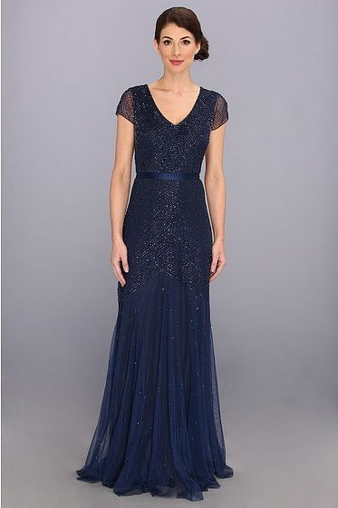 809aaa31f74 Adrianna Pappel midnight blue cap sleeve beaded gown  AdriannaPapell   BallGown  Formal