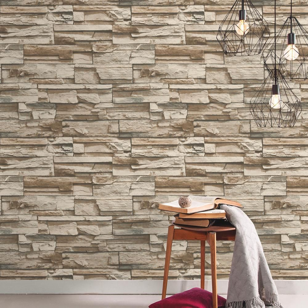 Roommates Brown Stacked Stone Vinyl Peelable Roll Covers 28 18 Sq Ft Rmk9025wp The Home Depot Stacked Stone Brick Wallpaper Stone Wallpaper