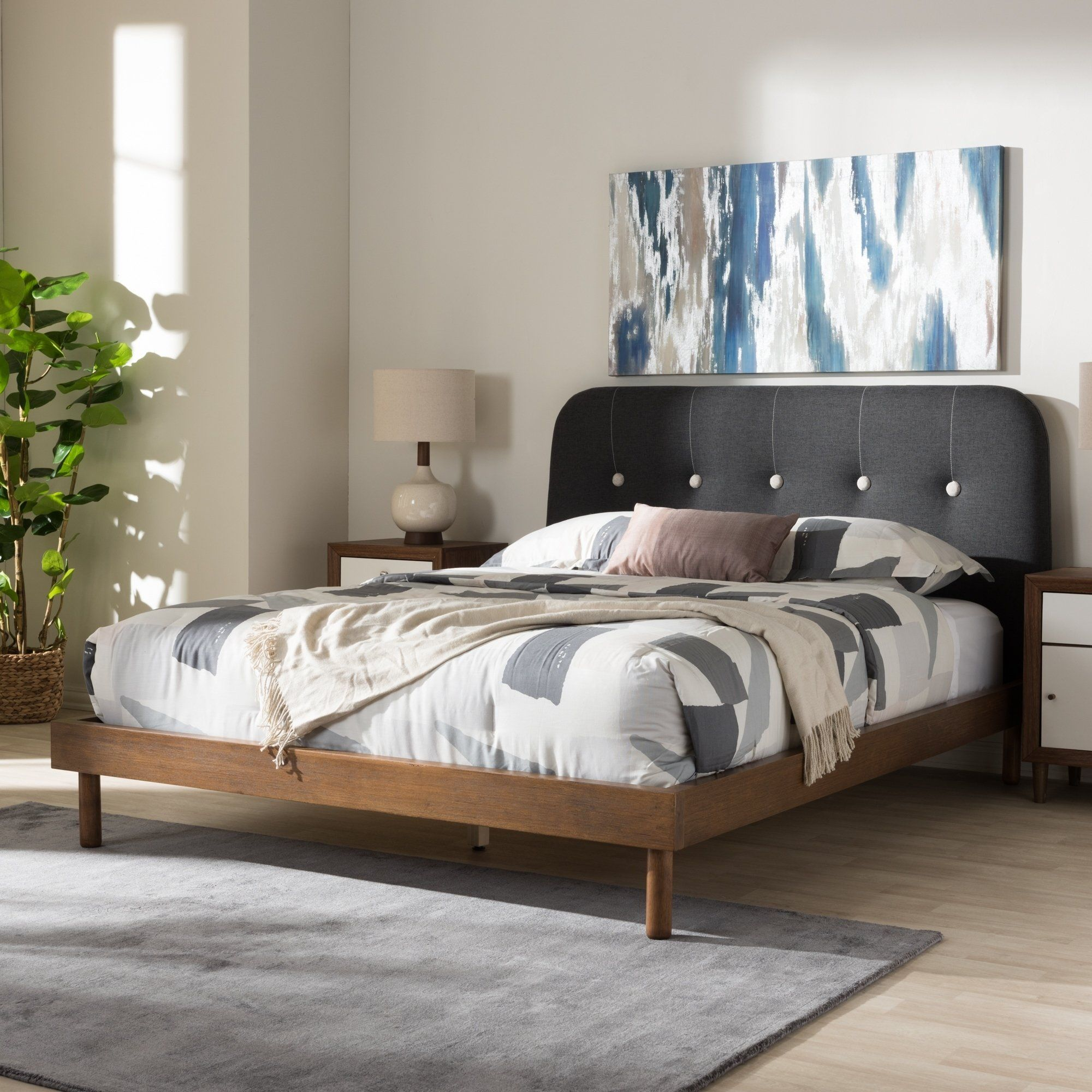 DK BROWN Fabric Cloth QUEEN Scalloped Platform Bed Frame Slats Home Bedroom NEW