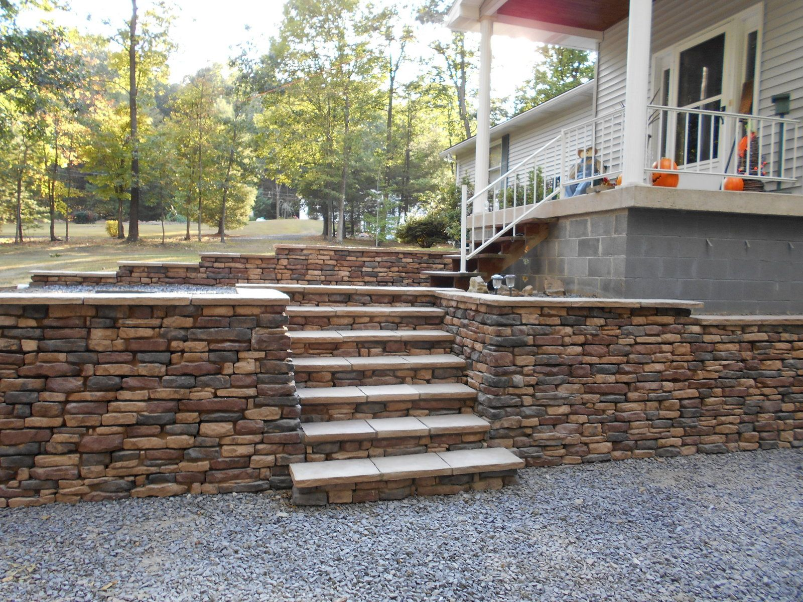 Dry stack retaining wall blocks no concrete foundation for Block wall foundation