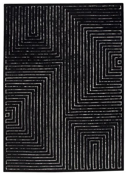 Toledo Collection Hand Tufted Wool Area Rug In Black And White