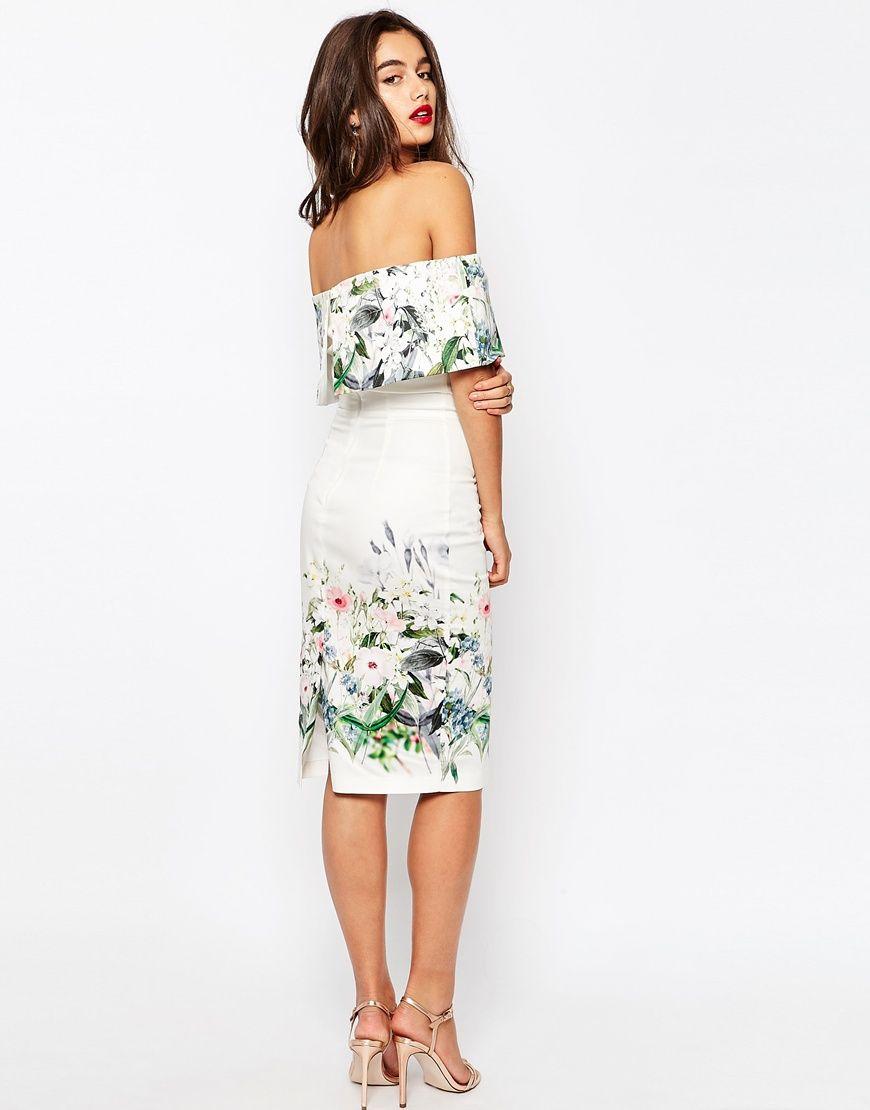 267f2b7202c7b Asos Border Floral Bardot Midi Pencil Dress - raveitsafe