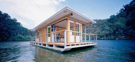 arkiboat houseboats are designed and built by drew heath architects like many boats its a good example of how to make good use of a small space but this - Small Houseboat