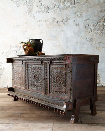 "Antique carved damachiya chest is over 100 years old and wears its original hand-painted finish. Traditionally, a damachiya would have stored dowry items for a bride and valuables in the home thereafter. Handcrafted of wood. 48""W x 15""D x 34""T. Made in India. Each will vary. $1095.00"