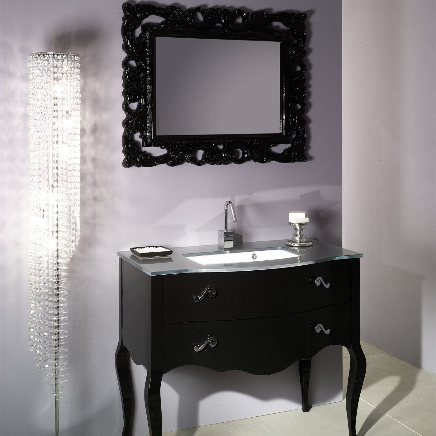 Nameeks Set NBGlossy Black Boheme Bathroom Vanity Glossy Black - Vintage wall mount bathroom sink for bathroom decor ideas