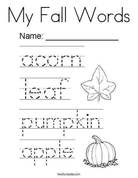 My Fall Words Coloring Page Twisty Noodle Fall Words I Fall Coloring Pages
