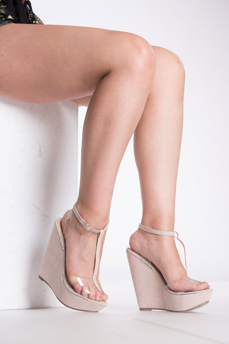 2098a69f00 Nude Faux Suede Vinyl Strap Wedges @ Cicihot Wedges Shoes Store:Wedge Shoes, Wedge