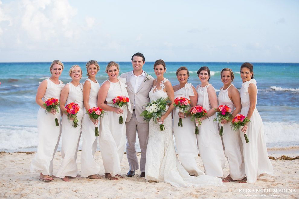 White Bridesmaid S Dresses Colorful Bouquets The Viceroy Riviera Maya Wedding