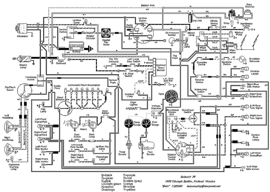 Wiring Diagram 1978 Triumph Spitfire Electrical Circuit