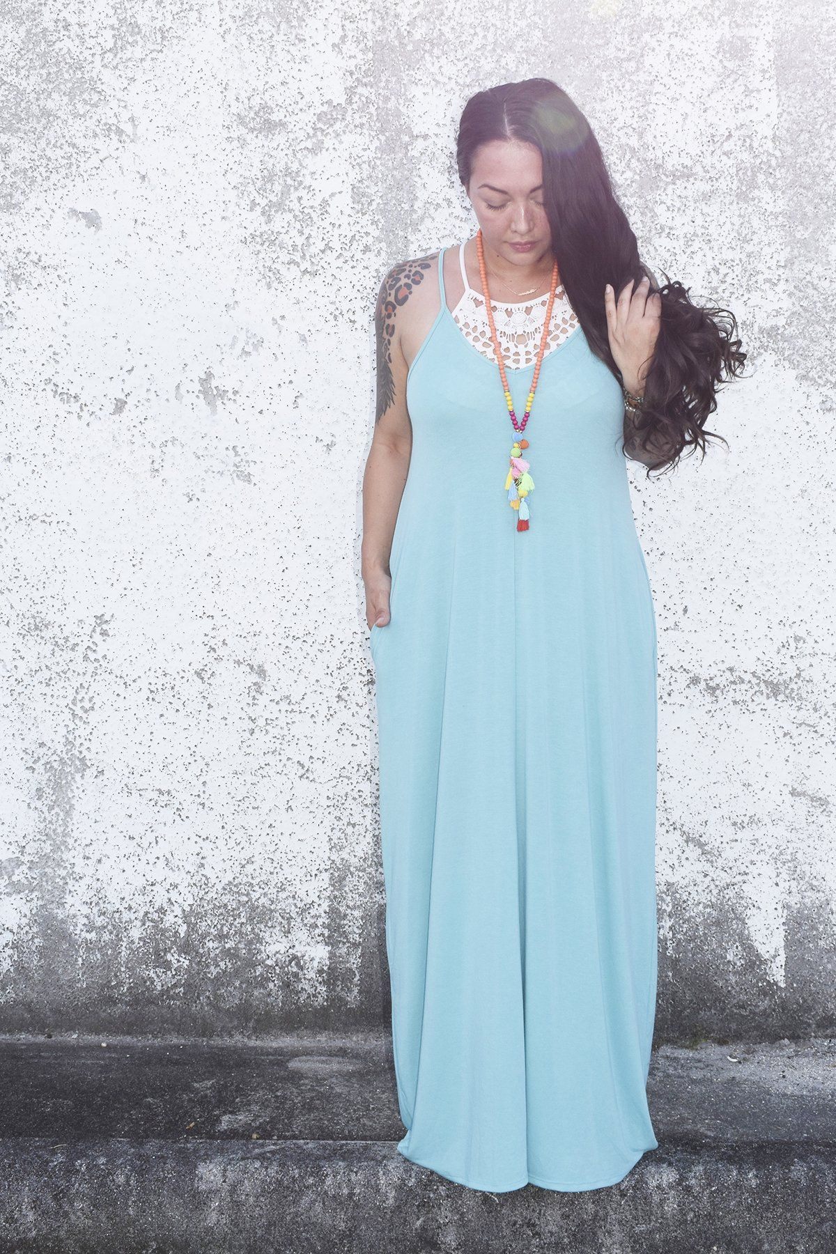 92a4d124b0 Our maxi dresses are the perfect basic to have in your closet! Create the  perfect bohemian look when paired with our crochet halter bralettes and  colorful ...