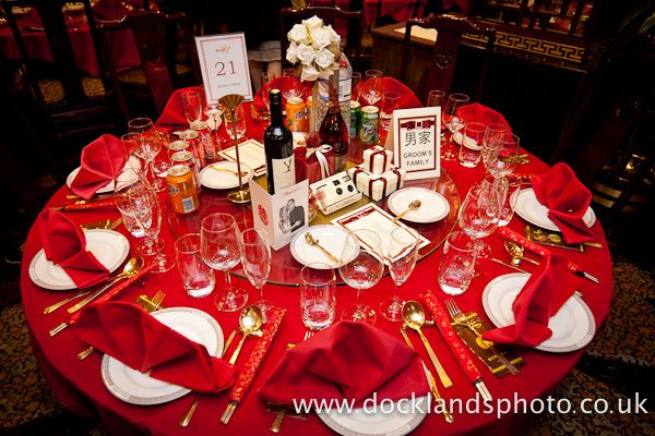 Red Table Cloth And Red Napkins With Gold Silverwares · Chinese Wedding  DecorWedding ...