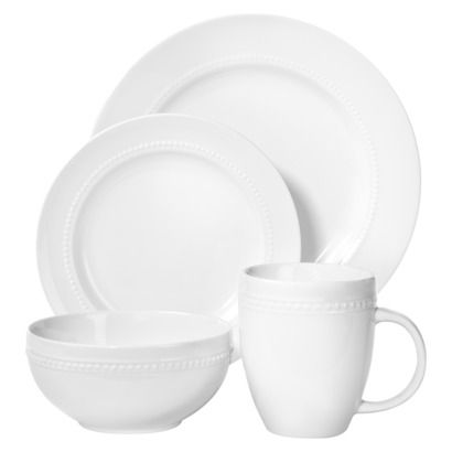 Threshold&#153 16 Piece Round Beaded Dinnerware Set - White Same as ...